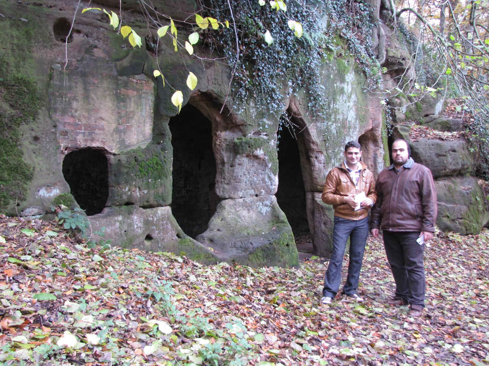 Hasan and Mohammed at Hermit's Cave, Dale Abbey