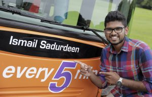 (Photoshoot 0716-017) Ismail Sadurdeen with his NCT bus.
