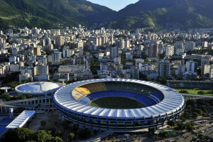 Rio de Janeiro, Brazil - April 13, 2010: Maraca Stadium, world famous soccer stadium, originally built in 1950 to host FIFA World Cup. It will host opening & closing ceremony of 2016 Rio Olympic, Rio de Janeiro, Brazil