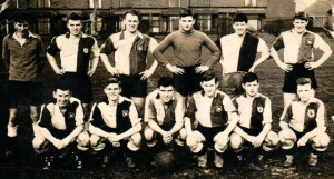 The all-conquering Bolton School 1st football team and was taken in March 1957, the year I went up to Nottingham University.  Stevens is the nice-looking lad 3rd from the right at the back (in the goalkeepers jersey).
