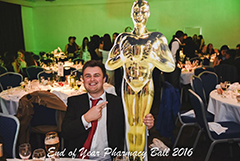 Tip: when trying to steal a human-sized Oscar, do not post a photo of yourself doing so online before escaping the venue.