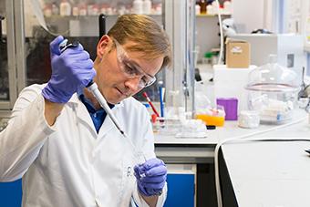 Adam Celiz in the lab