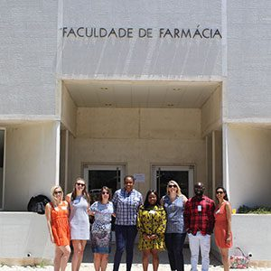 University of Nottingham representatives outside the Faculty of Pharmacy, University of Lisbon