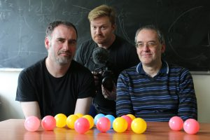 Image of Professor Philip Moriarty, Brady Haran, and Professor Michael Merrifield during the recording of sixty symbols videos.