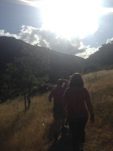 astronomers hiking in the mountains