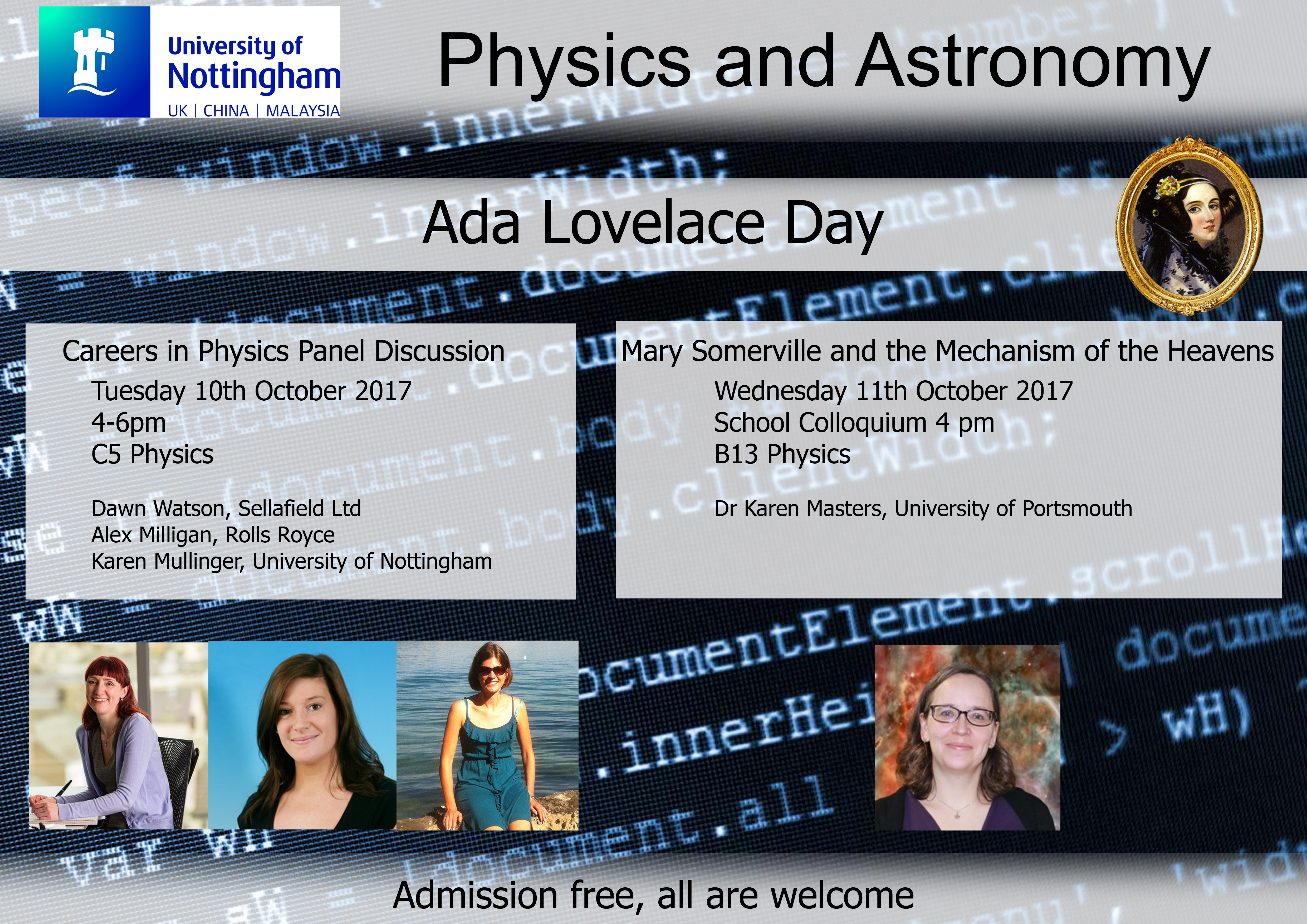 Poster describing details of Ada Lovelace Day celebrations at the University of Nottingham