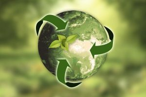 Green earth with process arrows