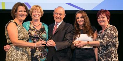 From left, Prof Pip Logan, Mrs Kate Robertson, Mr Martin Hindle, Ms Gemma Walker, Mrs Marie Ward.