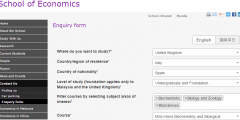 Screenshot of the new enquiry form