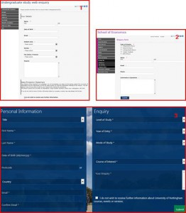 Screenshots of Previous Enquiry Forms