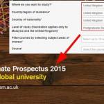 Postgraduate UK prospectus screenshot