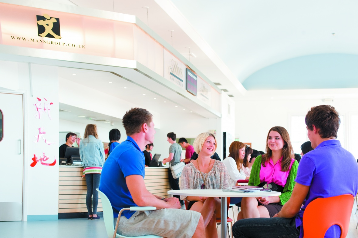 Students socialising in the Portland Food Court