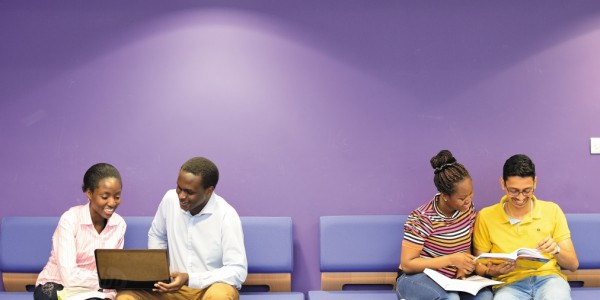 Postgraduate students studying in the Mathematical Sciences building