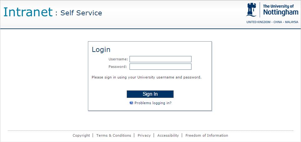 Self Service Portal Login Page