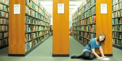 Undergraduate student studying in Hallward Library