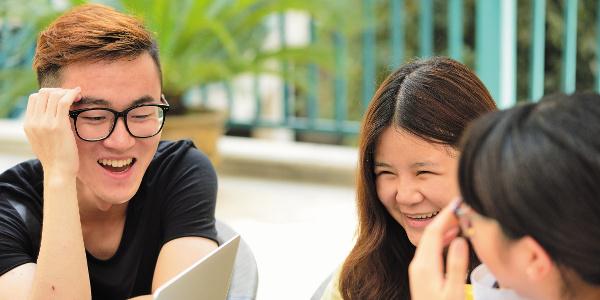 Group of undergraduate students in Starbucks, Ningbo Campus, China