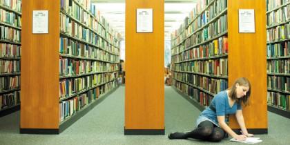 Undergraduate student studying in Hallward Library
