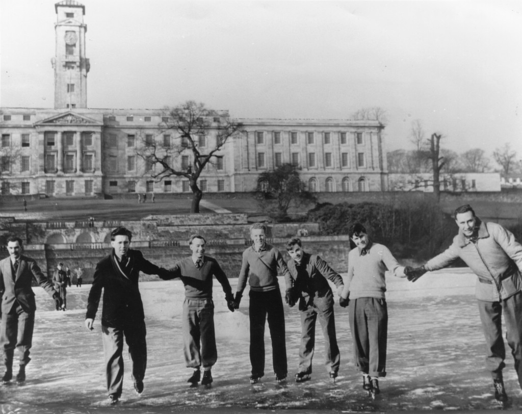 Students skating on the frozen lake, University Park, 1940s (image from book)