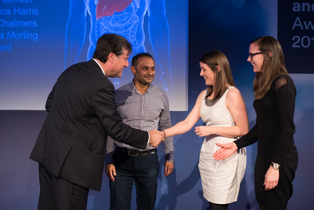Professor Dean Fathers, chair Nottinghamshire Healthcare NHS Foundation Trust, presents the award