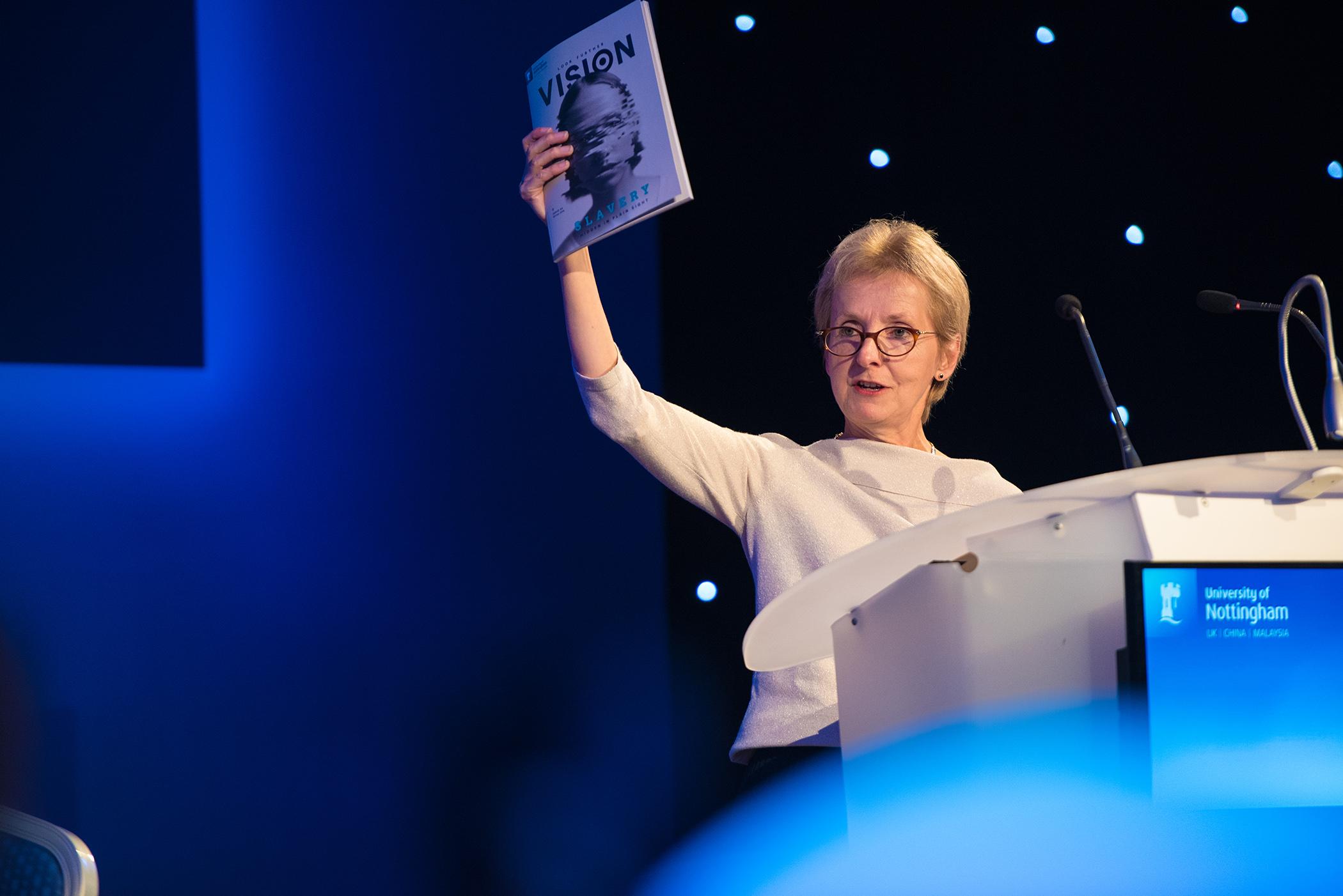 Professor Dame Jessica Corner with Vision magazine