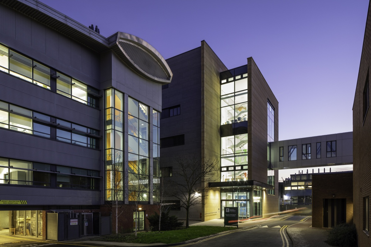 Exterior view of the Biodiscovery Institute at dusk