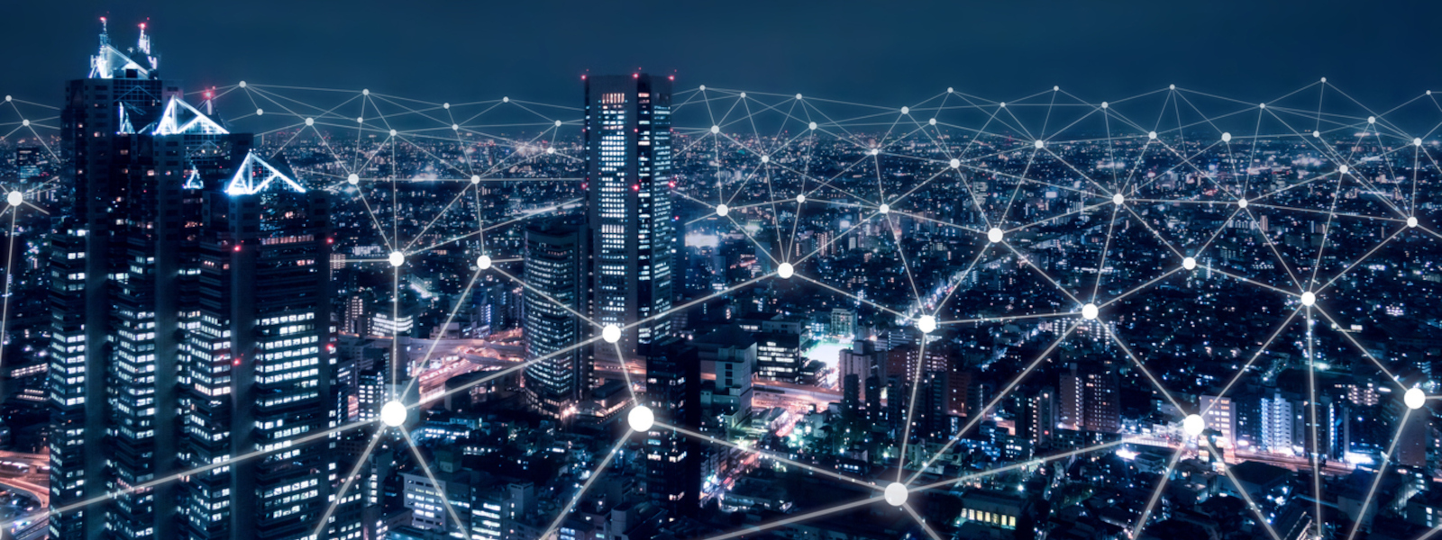 New Horizons awards image shows a city at night connected by a digital network
