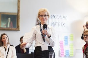 Dame Jessica at an Academy of Medical Sciences 'open space' meeting on how Fellows can support women in bioscience
