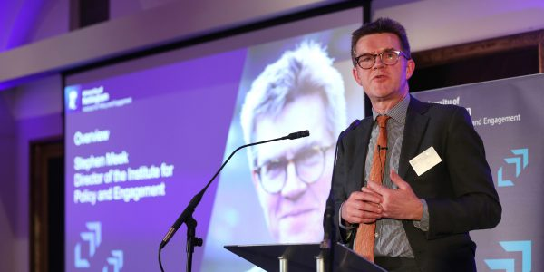 Stephen Meek at the launch of the Institute for Policy and Public Engagement
