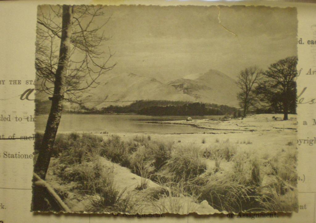 Derwentwater in winter. From a copy held in the National Archives (Copy 1/446) by  Henry Mayson, Keswick © filed 09/05/1900