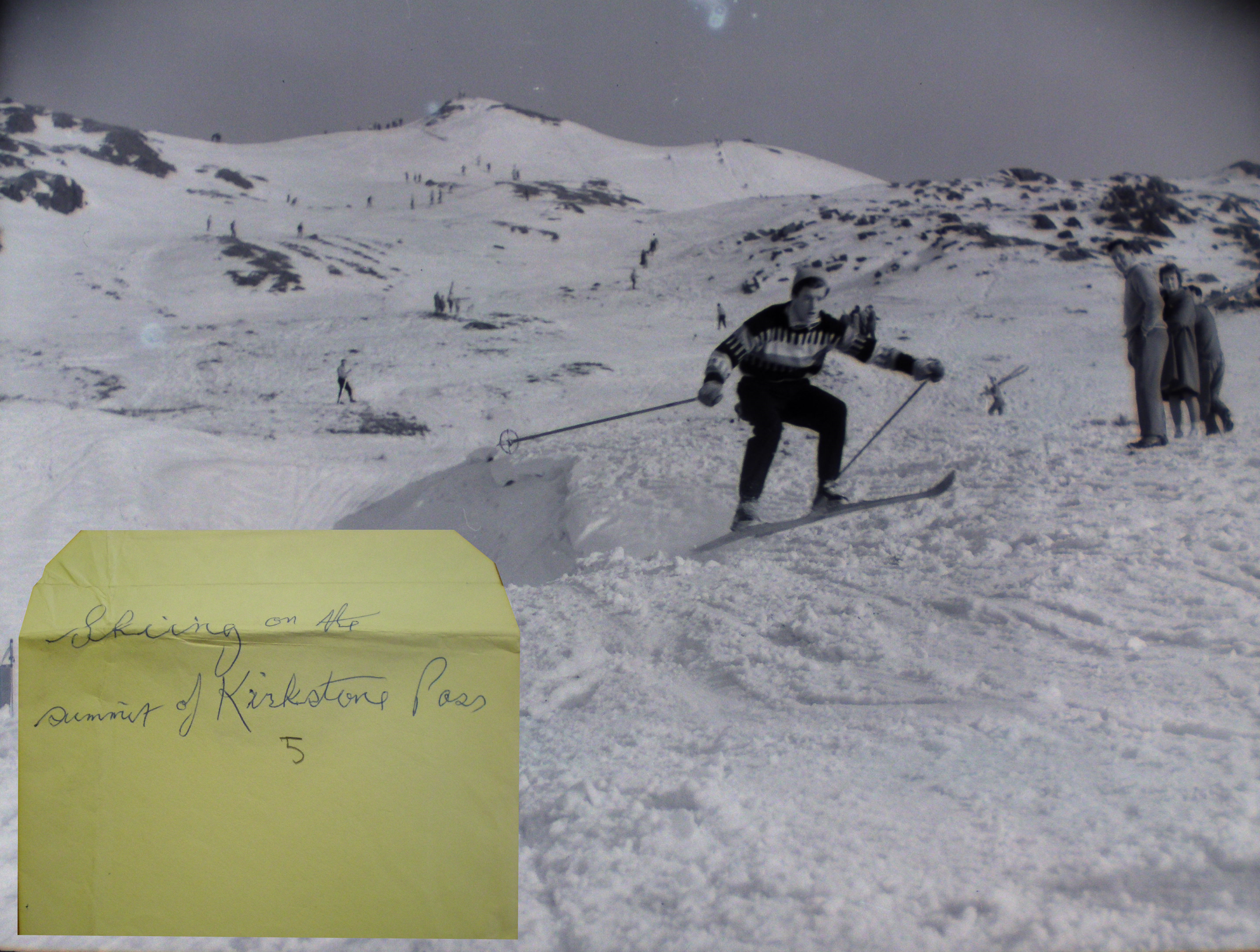 Skiiing on the summit of Kirkstone Pass. From glass slide negative at the County Record Office, Kendal. Taken circa 1960 by J.Hardman, Press Photographer ©  (inset: original envelope)