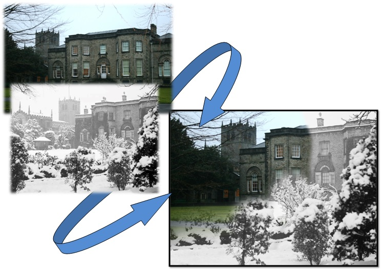 Abbot Hall, Kendal From Hardman's archive, today and the composite image created by merging the two images.