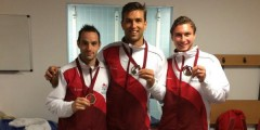 Pinner, Catlin and Martin with their bronze medals