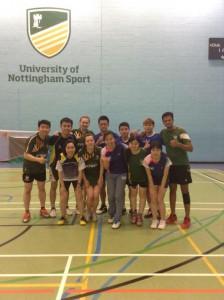 Teams UK and China post Badminton match photo!