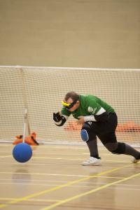 Liam playing goalball