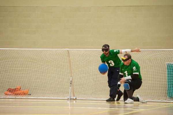 Goalball action shot