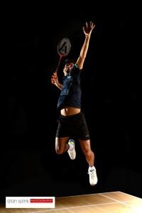 Badminton action