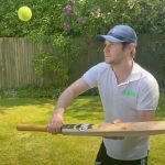 Tim whilst filming an activity for the 'At Home Cricket' campaign