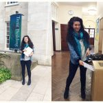 Sabrina handing in her dissertation at Trent Building