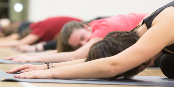 Students taking part in a yoga session at the David Ross Sports Village