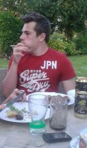 Eating politely...