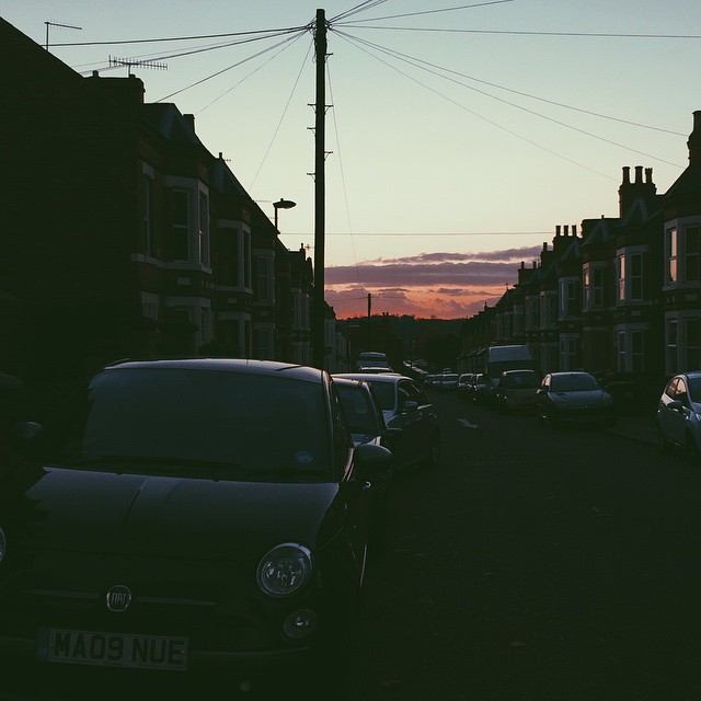 Only good thing about the sun setting at 4.30PM. #sunset #nottingham #VSCOCAM November 05, 2014 at 0755PM