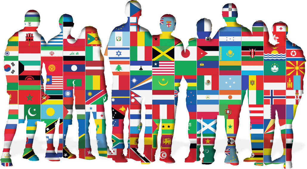 Image of flags imposed on people