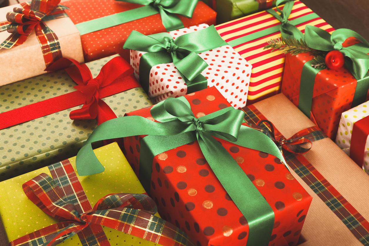 A bundle of multi coloured secret santa gifts