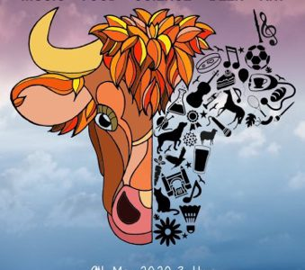 The poster for Sutton Bonington fest 2020, featuring an illustration of a cow's head made up of symbols representing 'SB'