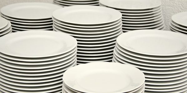 Many stacks of plates