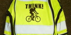 Hi-vis rucsac, with THINK! Cyclist logo