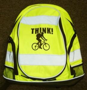 Hi-vis rucsac, with THINK! Cyclist logo