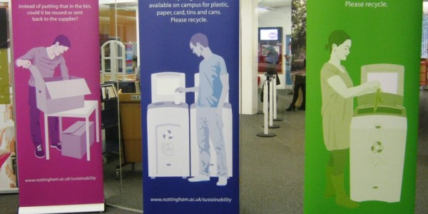Pop-up banners on display in Hallward Library