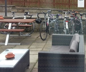 Our bikes parked up at The John Thompson Inn and Brewery.