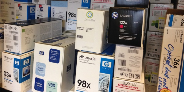 Boxes of printer cartridges